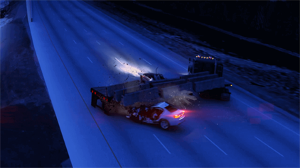 image of a semi truck jackknifing